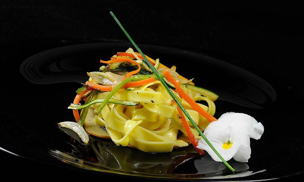 Pasta con verduras y AOVE de la DOP Estepa