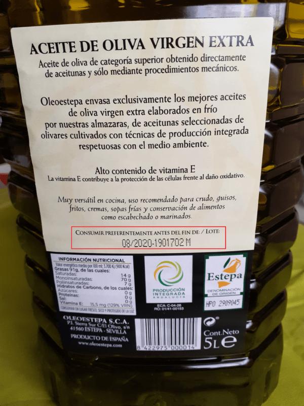 Fecha de consumo preferente del Aceite de Oliva Virgen Extra de la DOP Estepa