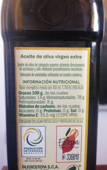 contraetiqueta de un aceite de oliva virgen extra de Oleoestepa