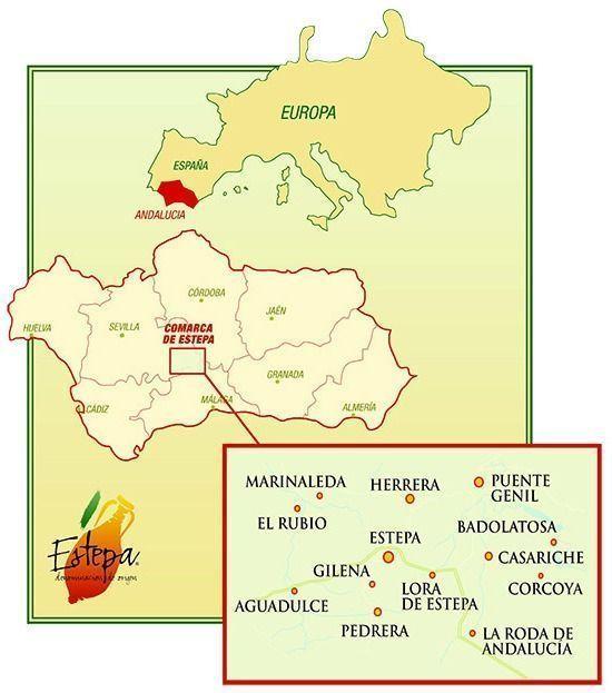 Mapa de la comarca de Estepa - Denominación de Origen Protegida Estepa