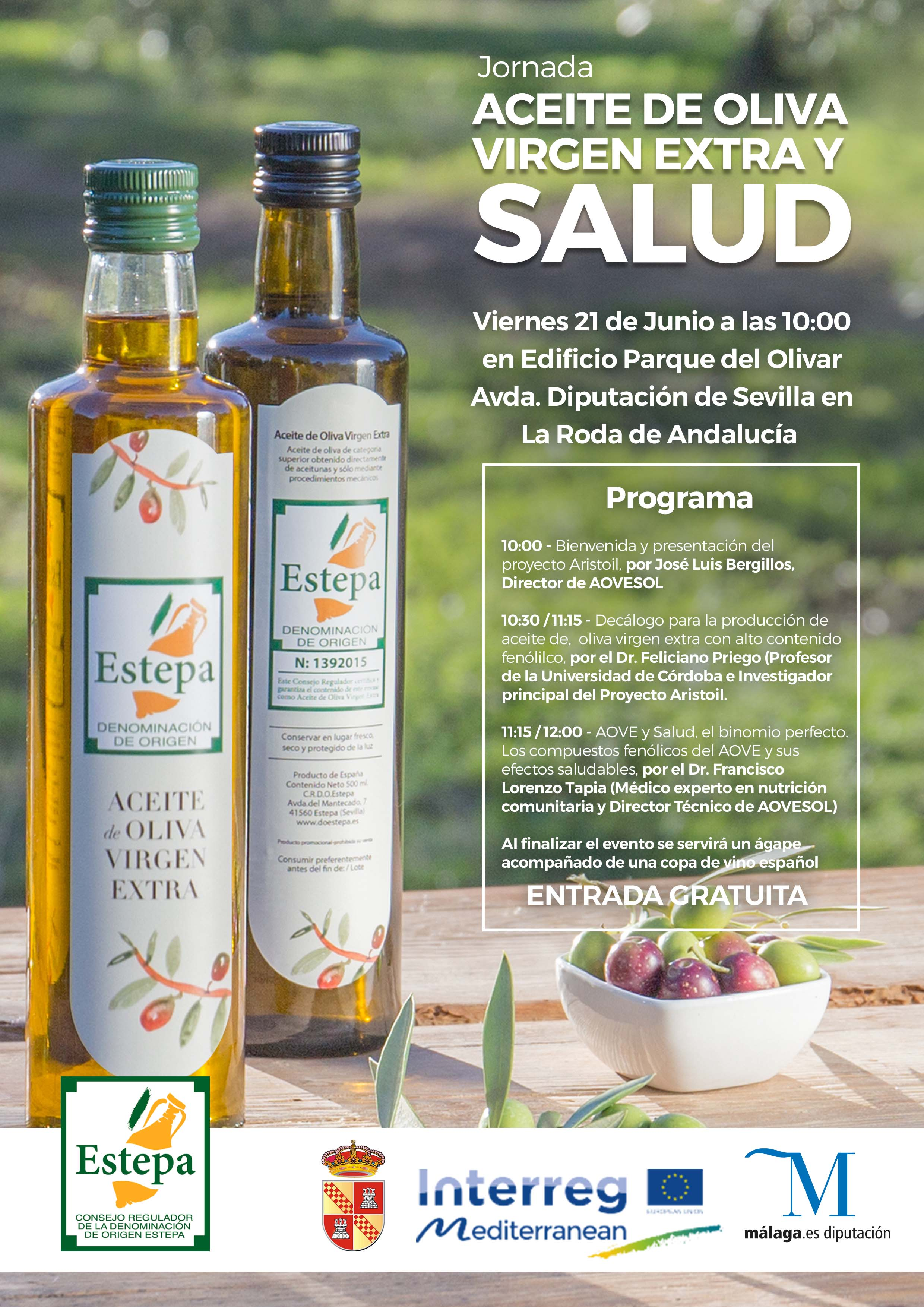 """Cartel de la Jornada """"Aceite y Salud"""" celebrada por la DOP Estepa"""
